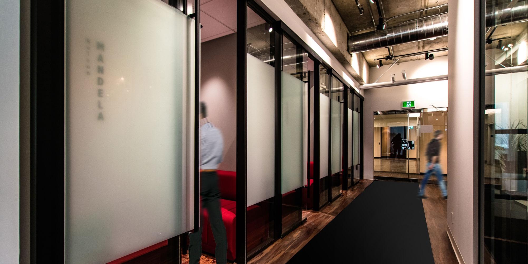 Fogged glass walls