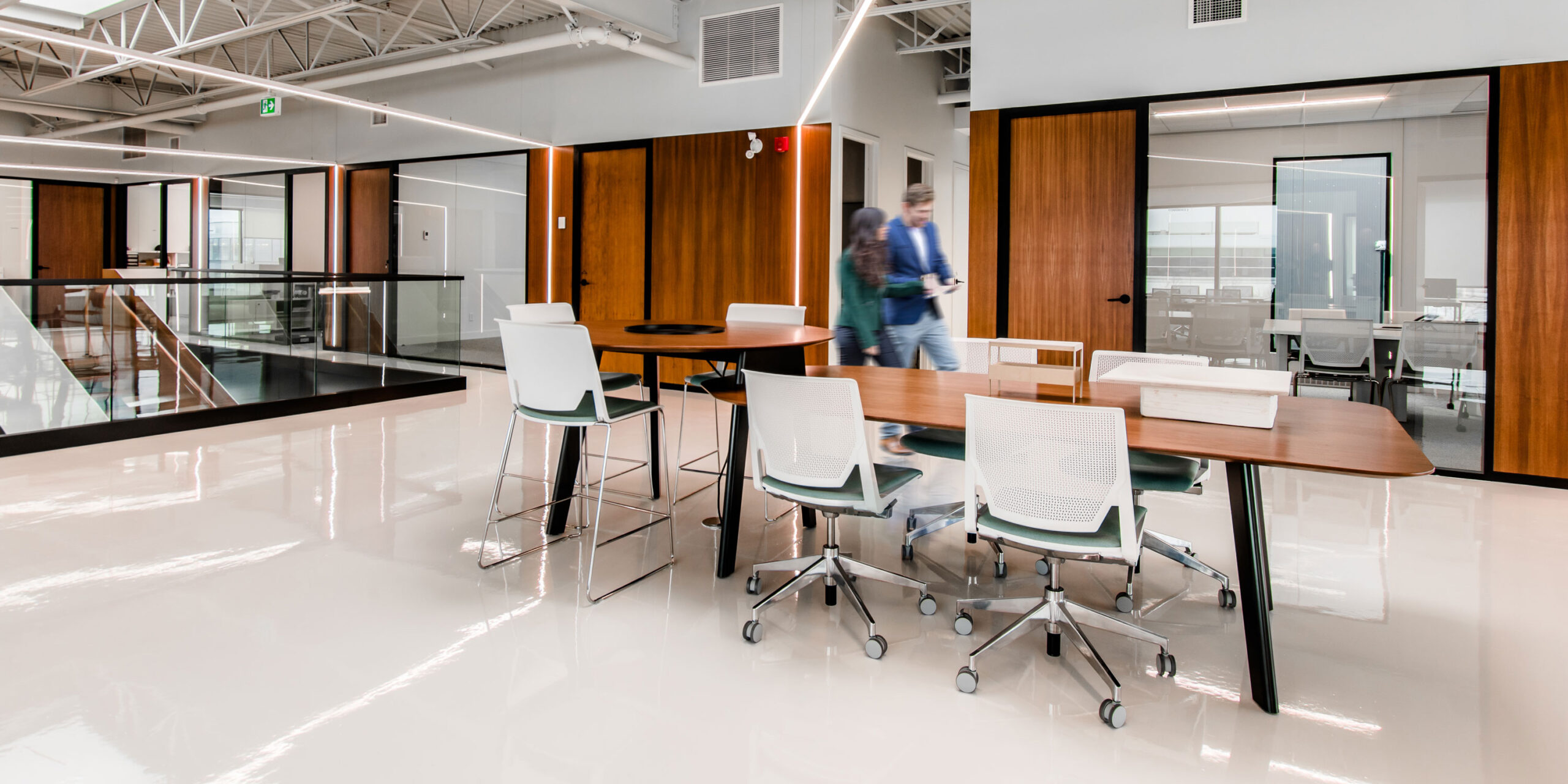 Integrated glass wall systems in open concept office